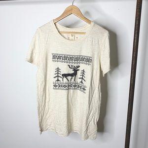 Free People Reindeer Short Sleeve Top